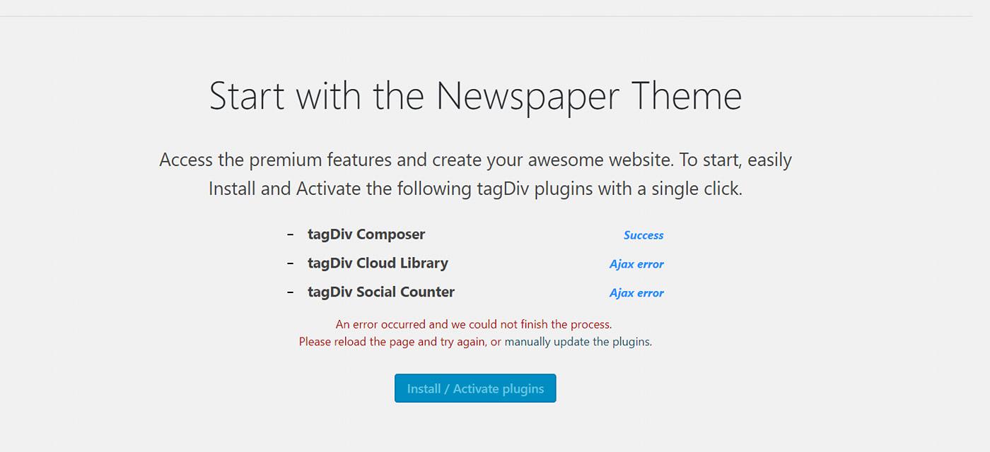 Lỗi khi cài plugin Composer trong theme Newspaper