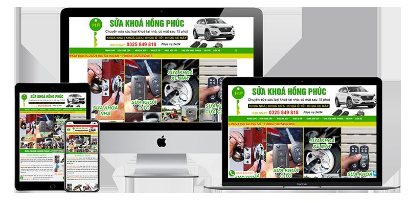 Giao diện website sửa khoá Hồng Phúc