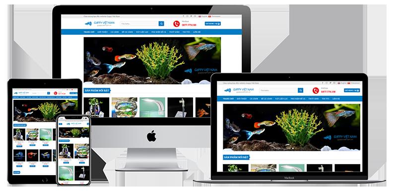 Giao diện website bán cá cảnh Guppy Việt Nam