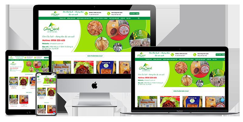 Giao diện website bán đặc sản sạch