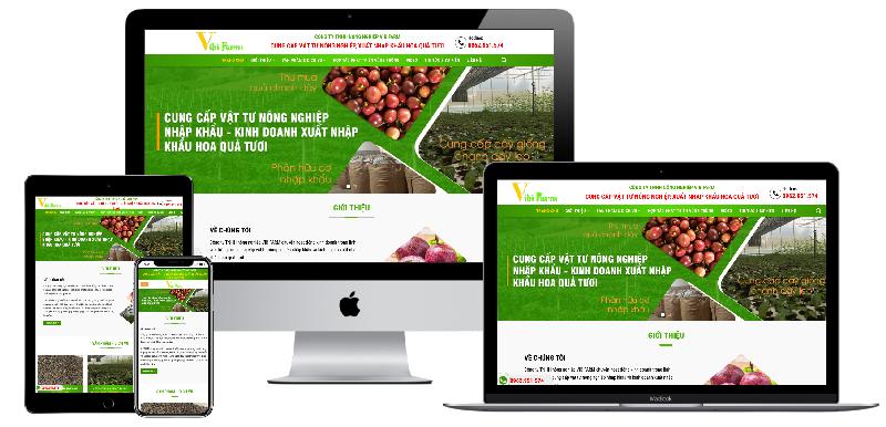 Giao diện website công ty nông nghiệp Vibifarm
