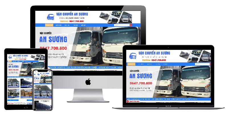 Giao diện website công ty vận chuyển An Sương