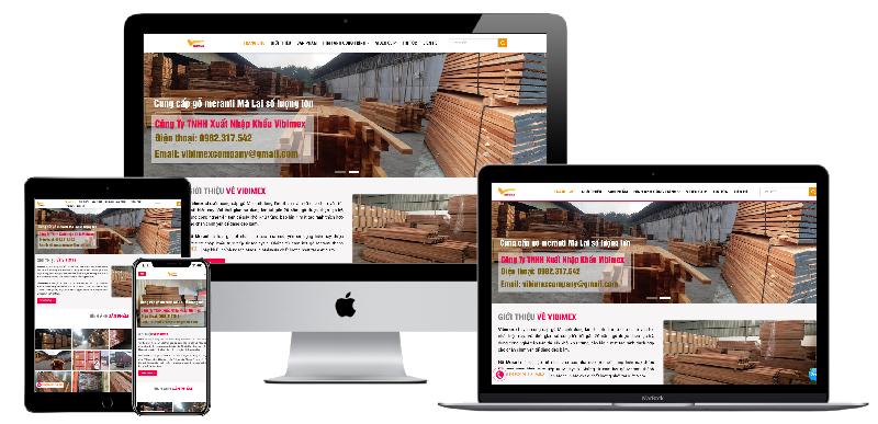 Giao diện website công ty xuất nhập khẩu gỗ Vibimex