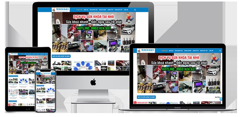 Giao diện website sửa khoá tại nhà giá rẻ