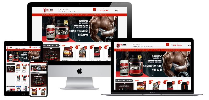 Giao diện website sản phẩm dinh dưỡng thể hình