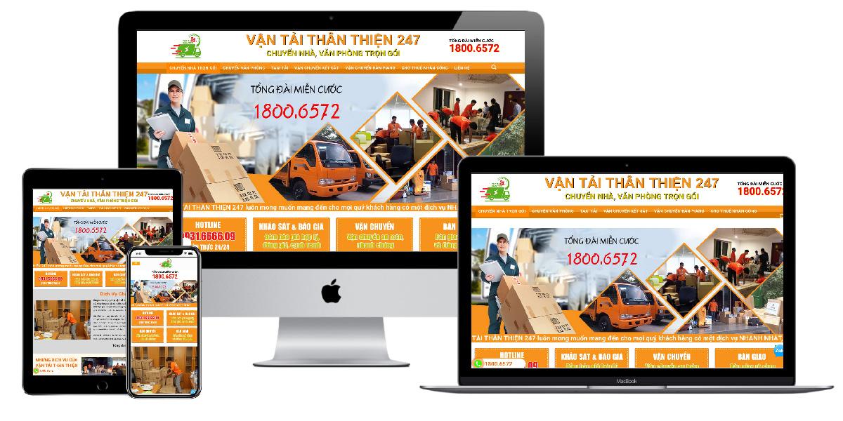 Giao diện website công ty chuyển nhà