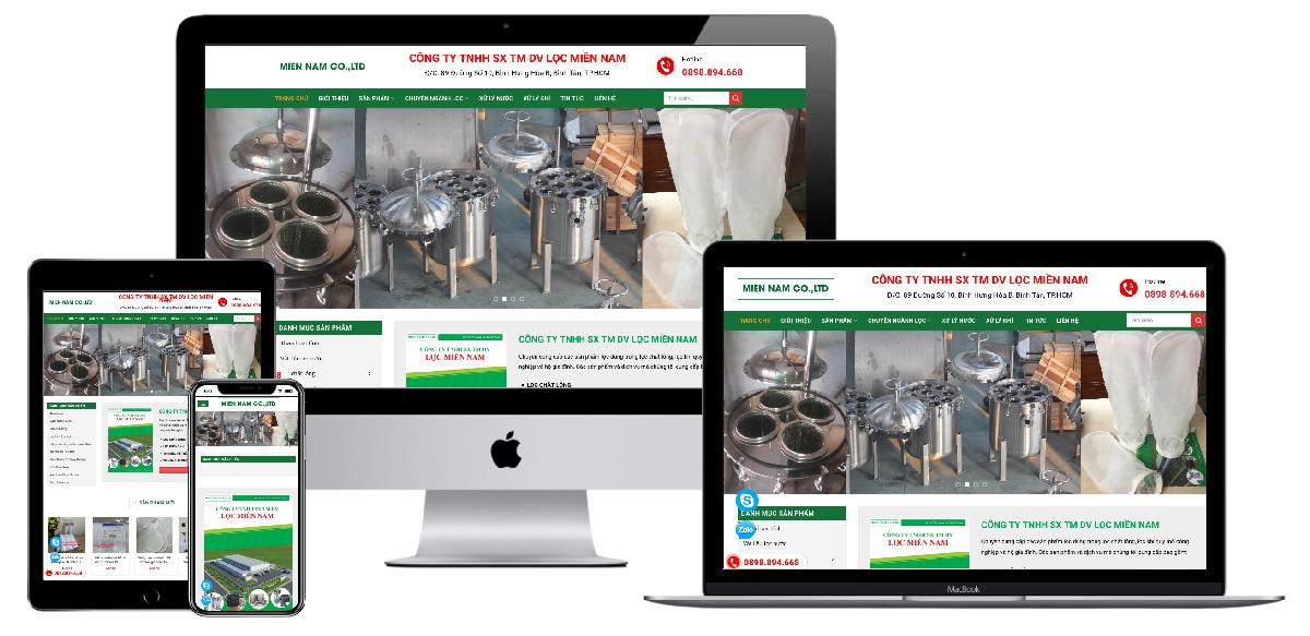 Giao diện website công ty thiết bị lọc