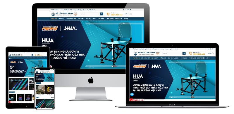 Giao diện website bán đồ câu cá