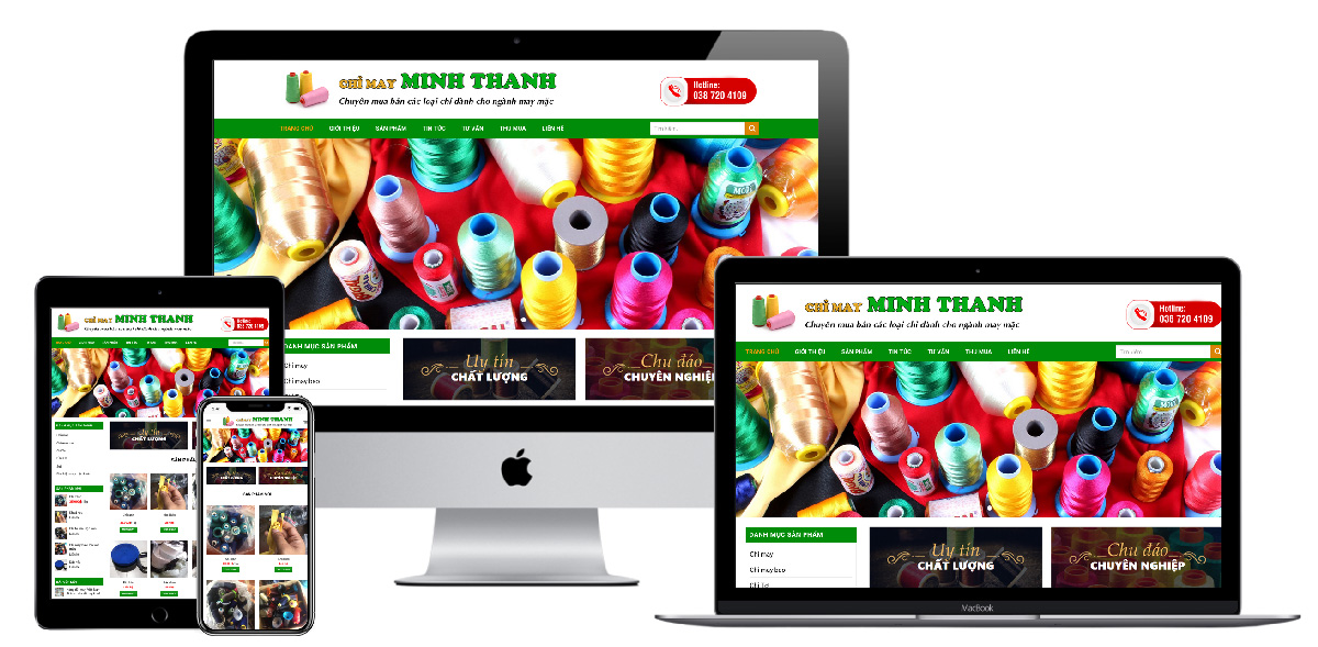 Giao diện website mua bán chỉ may